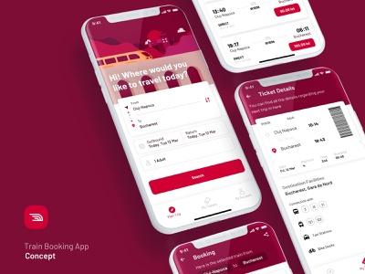 Train Booking App Concept cards illustration ui design product mobile details trip ride booking ticket train concept ui app