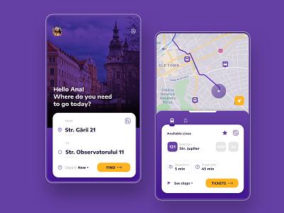 Public Transportation App / Concept destination routes bus schedule finder fare application purple move public transportation city ui mobile