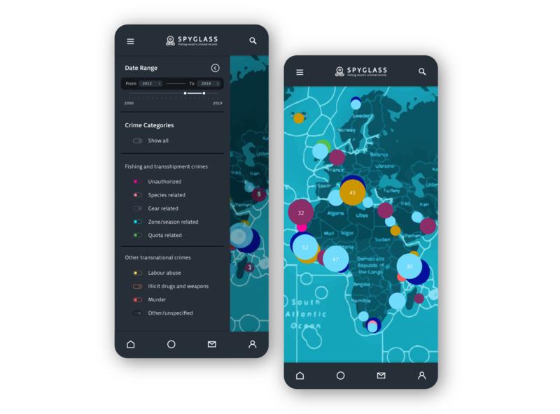 Spyglass menu filter menu menu bar map interaction design card mobile web product spyglass switches app interface design ux ui vector design graphic