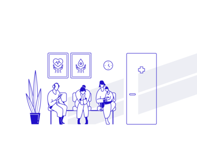 Cortico illustration queue medical people minimal product cortico line art line character blue brand identity web graphic  design branding design flat design flat vector illustration