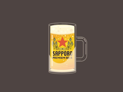 A refreshing Sapporo beer in frosted mug japanese sapporo digital illustration iconography beer