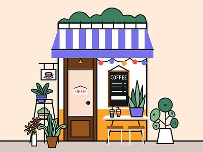 Cafe ui color bright coffe plant illustrator cafe illustration art vector