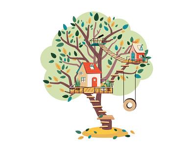 Treehouse treehouse bright design art illustrator illustration vector