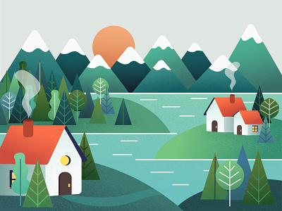Houses in the mountains minimal sun lake house mountain bright design art illustrator illustration vector