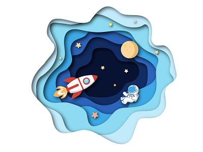 Cosmic adventure papercut astronaut cosmos design bright art illustrator illustration vector