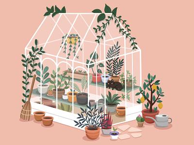 Greenhouse cat plant bright art illustrator illustration vector