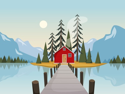 Lake House blue forest mountain house lake nature bright art illustrator vector illustration