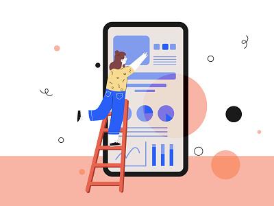 Surfing the internet design flat girl serching phone internet branding bright art illustration vector illustrator