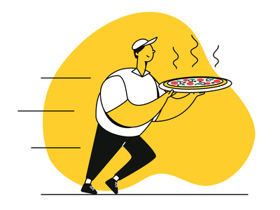 Delivery boy yellow boy restaurant pizza food delivery vector illustration