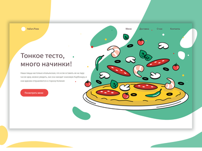 Pizza website website design restaurant pizza food vector illustration