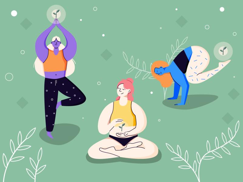Yoga time vector green health girls illustrator illustraion art yoga