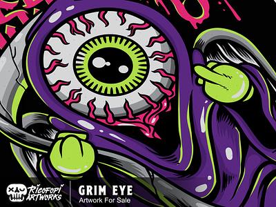grim eye eyes halloween monster cute fun art cartoon vector design illustration