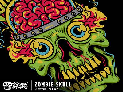 Zombie Skull icon eyes monster cute fun cartoon art vector design illustration