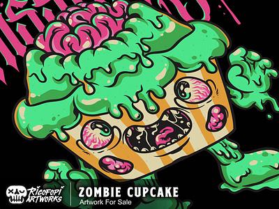 Zombie Cupcake halloween eyes zombie cute monster fun cartoon art vector design illustration