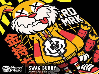 Swag Bunny monster cute fun cartoon vector art design illustration
