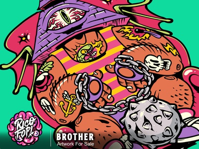 brother eyes halloween monster cute fun cartoon art vector design illustration