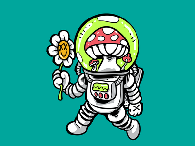 Astronaut icon logo monster cute fun art cartoon vector design illustration