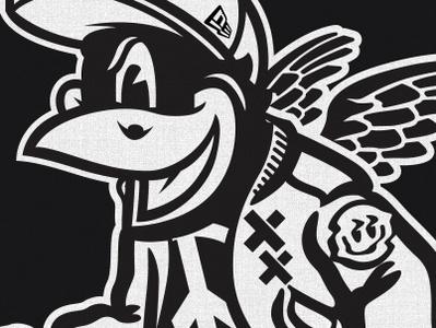Black Bird charachter vector art avatar eyes halloween monster art fun font cute cartoon vector design illustration