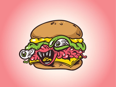 Zombie Burger monster art fun vector cartoon illustration design