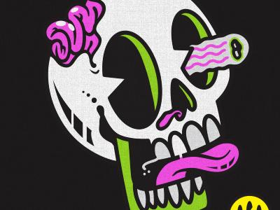 Lol Skull eyes vintage bonus halloween monster cute art fun cartoon vector design illustration