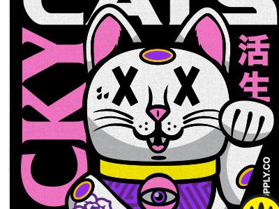 Lucky Cat font branding eyes avatar monster fun cute cartoon art design vector illustration
