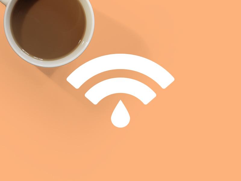 Coffee + Wifi material minimal flat shadow brown orange cup signal wifi coffee branding logo