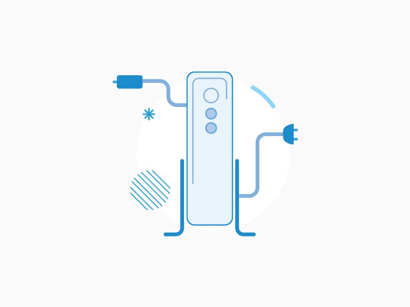 Little Modem empty state guided flow ux vector monotone graphic illustration