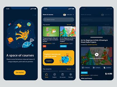 E-learning mobile app for kids minimal clean colorful fun dark mode figma e-learning educational courses mobile app learning kids education ui ux
