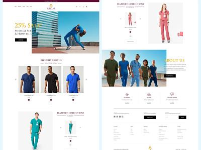 Supreme | Medical Scrubs Ecommerce website landing page uniform e-commerce minimal clean medical website web design ux ui hospital