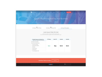Tabular Pricing Page clean minimal ux website mockup user interface user experience ui