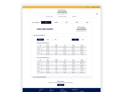 Tommy Hilfiger Sizing Chart Page ux mockup website user interface user experience ui