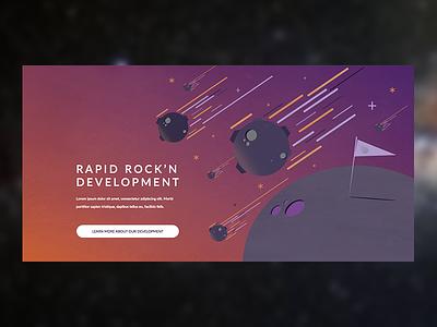 Website Section Illustration & CTA meteor framwork space website page section illustration