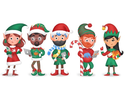 Christmas Elves procreate christmas character photoshop art illustration