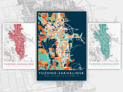 Poster map | Yuzhno-Sakhalinsk portfolio procreate artwork illustration art posters poster
