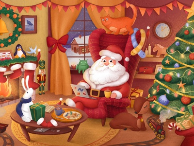 Santa's living room |  Illustration for Intella happy new year holidays christmas santa character photoshop artwork procreate illustration art