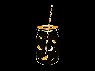 Orange juice illustrations juice star digital painting orange space planet moon night orange juice summer vector digital illustration digital art illustration