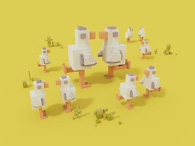 Dance With Me summer moha render 3d voxel voxelart magicavoxel 2020 design digital illustration illustration