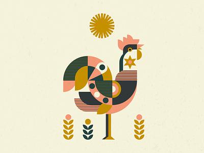 Rooster vectorart rooster sun morning night illustrator digital painting design digital art digital illustration vector illustration