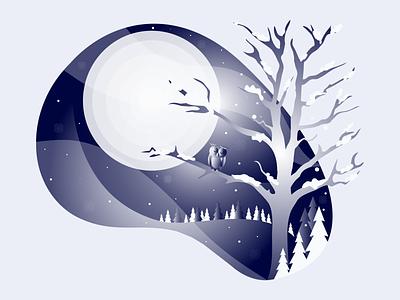 Winter owl snow winter vector illustration