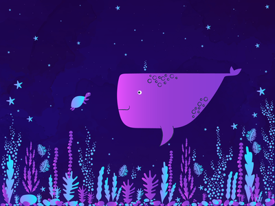 Under The Sea characters turtle whale ocean sea under water vector illustration