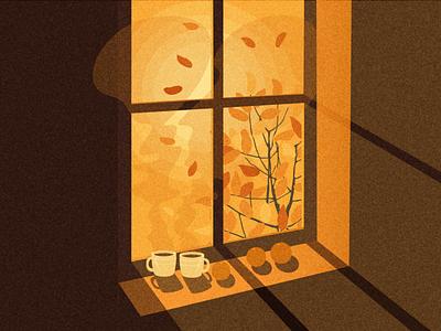 Autumn sunset tangelo autumn leaves vector digital illustration digital art illustration autumn