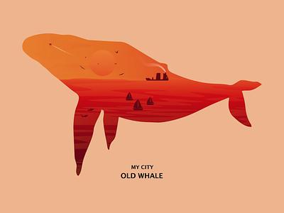 My City (Old Whale) whale vector digital art digital illustration sea sunset mycity 2019 illustration