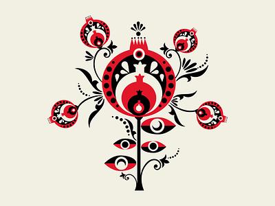 Yalda Night 2019 pomegranates yalda snow night fruit celebration autumn winter digital illustration digital art vector illustration