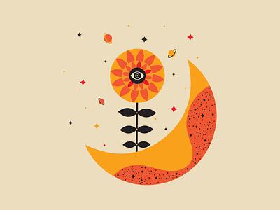 Sunflower mino sunflower star moon flower day sunny design space night winter digital illustration digital art vector illustration