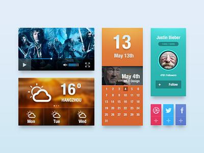 UI kit ( free psd) app video weather calendar kit psd share ui