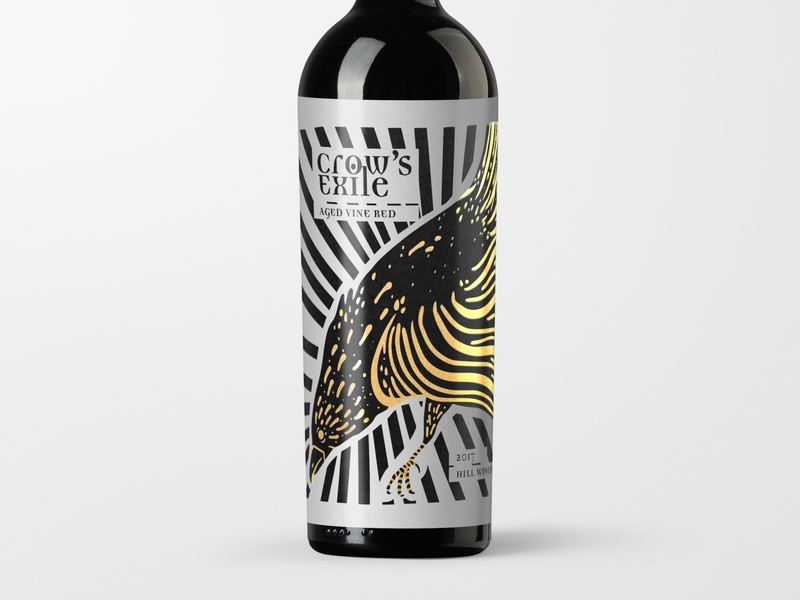 Crow's Exile Wine Label white red liquor label design wine label packaging abstract art identity graphic design graphic artist logo graphic art design branding illustration