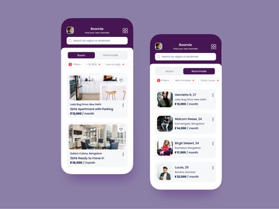Roommate Mobile App concept productdesign product concept daily ui daily 100 challenge product design ux ui mobile ui mobile app iphone figma design app