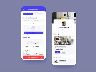 Roommate Mobile App concept dailyui daily 100 challenge concept ux ui mobile ui mobile app iphone figma design app