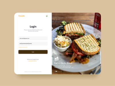 Day 006  Fooodie Login Page  concept UI logodesign login minimal daily 100 challenge ux ui design figma