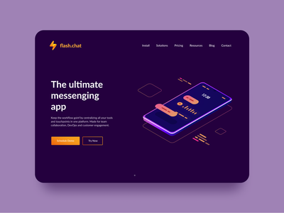 Flash Chat Hero Section Concept UI concept chat messaging app message app figmadesign web design website design web daily 100 challenge design ux ui figma